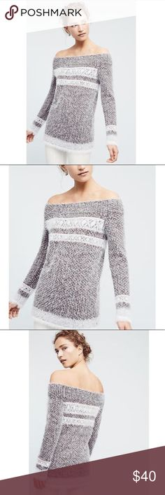 Anthropologie Faroe Off the Shoulder Sweater! Fuzzy and super soft! Not itchy! Gorgeous off the shoulder style and slightly longer length, could be worn with leggings and boots! Perfect for fall/winter!  ♥️ Brand new with tags! No holds or trades! I only sell on Posh! IN600# Anthropologie Sweaters