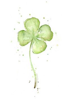 Four Leaf Clover Art Print Clover Watercolor Painting Plants St Patricks Lucky Charm Clover Painting Abstract Clover Clover Wall Art - Plants On Wall - Ideas of Plants On Walls - / watercolor / Aquarell Watercolor Plants, Watercolor Cards, Watercolour Painting, Painting Abstract, Tattoo Watercolor, Simple Watercolor, Painting Art, Floral Watercolor, Watercolor Quote