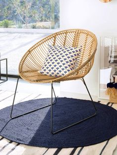 Rattan and metal armchair – Natural – 1 - Home Page Canapé Design, Chair Design, Balcony Furniture, Sofa Styling, Salon Style, Retro Ideas, Retro Chic, Beautiful Interiors, Home Living Room