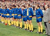 The Arsenal team line up prior to the FA Cup Final against Liverpool at Wembley Stadium in London on 8th May 1971 Arsenal won 21 Left to right Bob...