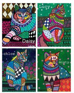 cat Laurel Burch, Cat Quilt Patterns, Frida Art, Cat Crafts, Here Kitty Kitty, Mexican Art, Art Graphique, Cat Drawing, Texture Art