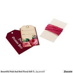 Beautiful Pink And Red Floral Gift Tag