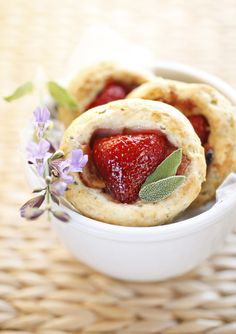 Sage biscuits with strawberries