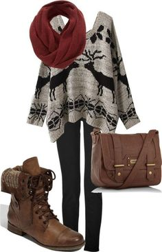 Winter sweater outfits, fall winter outfits, autumn winter fashion, big s. Fashion Moda, Look Fashion, Teen Fashion, Fashion Outfits, Womens Fashion, Cheap Fashion, Fall Fashion, Fashion News, Fashion Beauty