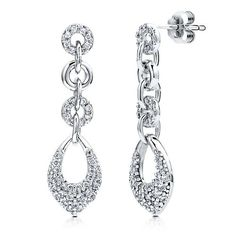 Sterling Silver 925 Cubic Zirconia CZ Multi Circle Dangle Earrings from Berricle - Price: $53.99