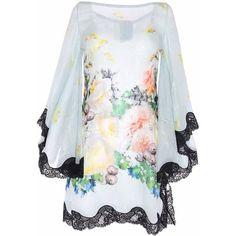 Paola Quadretti SRL - Eden Dress ($1,800) ❤ liked on Polyvore featuring dresses, blue floral dress, summer cocktail dresses, blue summer dress, holiday dresses and flower print dress