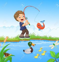 Image result for little boy fishing cartoon
