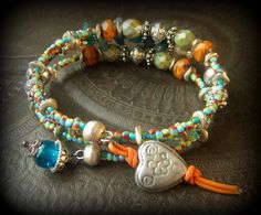 Gypsy Boho Rough ApatiteCzech Glass African Beads by YuccaBloom