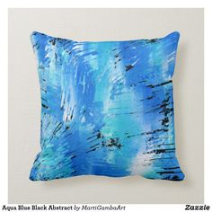 Shop Aqua Blue Black Abstract Throw Pillow created by MartiGambaArt. Living Room Pillows, Couch Pillows, White Decorative Pillows, Custom Pillows, Light Blue Throw Pillows, Black Abstract, My New Room, Aqua Blue, Personalized Pillows