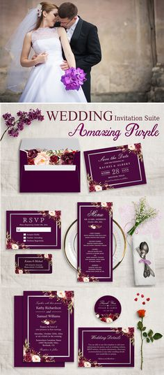 A Plum Purple Floral Silver Gray Invitation Suite Invitation Suite, with items from invitations to RSVP card, Details Card, Stickers, Address Label, Sign Poster, and more.
