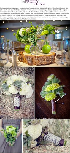cluster of small vases on wood centrepiece with rustic green and white flowers