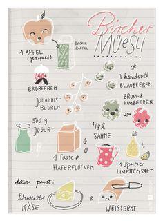 my work: zeixs Illustrated Recipie Cards Bircher Müsli - Design: apfel z design Sandra Hofacker, © by apfel-z.de