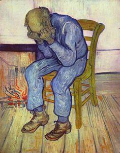 """Anciano afligido (""""Sorrowing old man or At Eternity's Gate). Van Gogh. 1890. Localización: Kröller-Müller Museum (Holanda). https://painthealth.wordpress.com/2016/03/31/anciano-afligido/"""