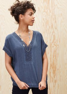 Lace blouse with a garment-washed effect in the s.Oliver Online Shop