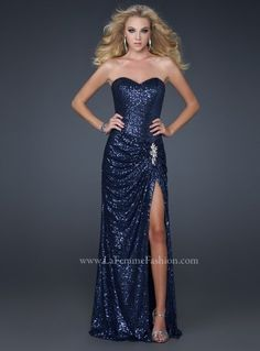 La Femme 17104 Navy prom dress, Strapless -InternationalProm My exact idea of what I want