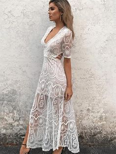 Crocheting Hollow Split-side Maxi Dresses. White Maxi Dress CasualSexy ... dd39e43e5fe9