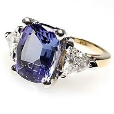 Estate Genuine Tanzanite & Diamond Engagement Ring Three Stone Solid 14K Gold $4.6K - Like the setting
