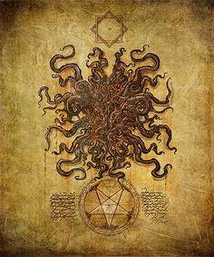 The Grand Grimoire of Cthulhu Mythos Magic Art (Chaosium Publishing) Necronomicon Lovecraft, Lovecraft Cthulhu, Hp Lovecraft, The Grand Grimoire, Yog Sothoth, Lovecraftian Horror, Eldritch Horror, Satanic Art, Arte Obscura