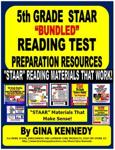 """5TH GRADE """"STAAR"""" READING RESOURCES BUNDLED! I have bundled all of my STAAR 5th Grade reading resources and test preparation materials together in one bundle.  With this product, you will have authentic, higher level STAAR reading test preparation products to prepare your students throughout the year! $"""