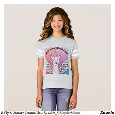 A Fly'n Unicorn Drama Llama T-Shirt for tweeners!