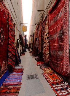 Essaouira carpets    A little side street in Essaouira, a port town a few hours from Marrakech