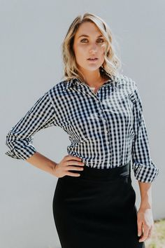 83bf344f Altitude womens french cuff business shirt made from Gingham print cotton  fabric. Business Shirts,