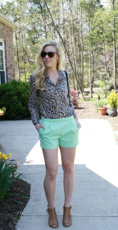 leopard button down, mint shorts, gold tassel necklace, perforated tan peep-toe booties