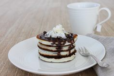 Coconut Pancakes with Chocolate Drizzle - The Fit Foodie