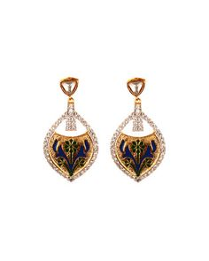 Lovely Tear Drop Earrings With Minakari Work | Rs. 1,359 | http://voylla.com