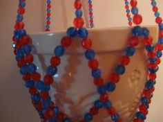 BLUE AND RED BEADED PLANT HANGER