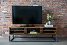 Reclaimed Wood Media Stand / TV Centre Pallet Wood with Steel Frame, Media Console, Storage, Raw Steel, Toronto Furniture, Condo, Handmade