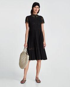 ZARA - WOMAN - CONTRAST LACE DRESS Zara Outfit, Lace Midi Dress, Lace Dress Black, Midi Dresses, Moda Zara, Festival Mode, Zara Mode, Music Festival Fashion, Zara Fashion