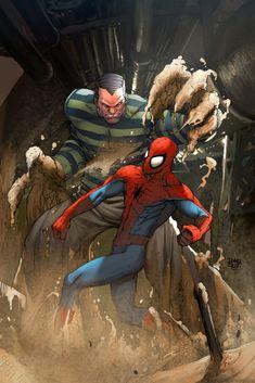 #Spiderman #Fan #Art.  (Sandman Vs Spiderman) By: Deffectx. ÅWESOMENESS!!! [THANK U 4 PINNING!!]