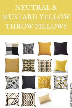 Neutral and Yellow Throw Pillows | www.frenchblissme.com