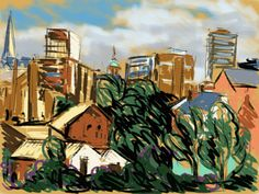 Craig Longmuir, 'Sheffield from The Fat Cat #2' iPad drawing from observation using sketchbook pro.