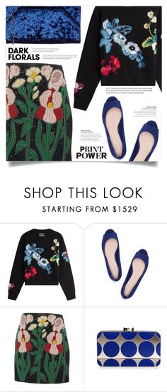 """Winter Prints: Dark Florals"" by dolly-valkyrie ❤ liked on Polyvore featuring Anthony Vaccarello, Tory Burch, Gucci, Manolo Blahnik, Halogen and darkflorals"