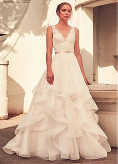 60b93f5833d  248.80  Junoesque Lace   Tulle V-neck Neckline A-line Wedding Dress With  Belt   Beadings   Ruffles