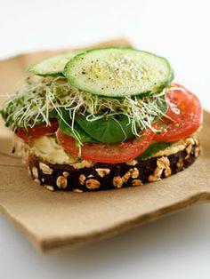 Instead Try: An Open-Faced Sandwich Brunch Recipes, Diet Recipes, Vegan Recipes, Cooking Recipes, Diet Tips, Easy Recipes, Hummus Sandwich, Veggie Sandwich, Vegan Sandwiches