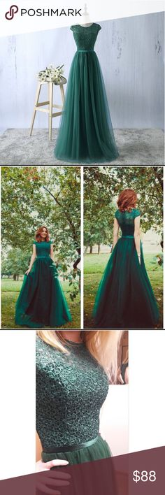 Elegant Green Tule Prom Dress Evening Formal Gown Gorgeous emerald green gown! Perfect for prom! NOTICE: Please allow up to three weeks for processing and delivery. Dresses Prom