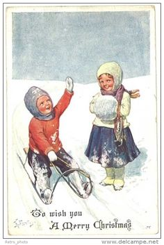 Feiertag postcard children playing in snow, sled Winter Images, Winter Pictures, Christmas Pictures, Illustration Noel, Christmas Illustration, Illustrations, Christmas And New Year, Vintage Christmas, Merry Christmas