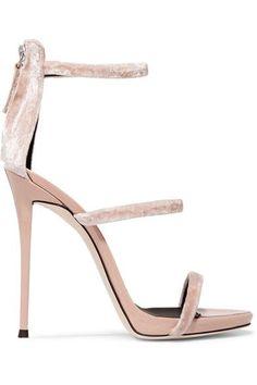 Giuseppe Zanotti - Velvet And Patent-leather Sandals - Blush - IT37.5