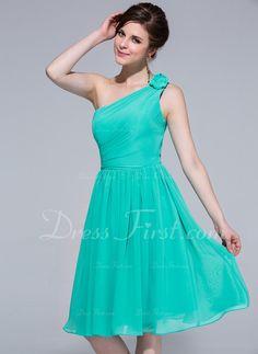 6d66a42957 A-Line Princess One-Shoulder Knee-Length Chiffon Bridesmaid Dress With  Ruffle (007037195)