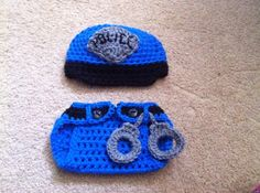 Crochet Police Officer Outfit Hat Dciaper cover w/ by Potterfreakg