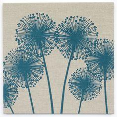 Alliums Linen Print (Teal)