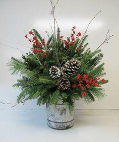 Composition florale Noël pour déco de table et de l'extérieur -