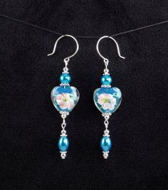Handcrafted Blue Lampwork Glass Bead Silver Dangle Drop Flower Heart Earrings