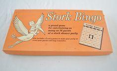 on sale Vintage STORK BINGO Game baby shower by ilovevintagestuff
