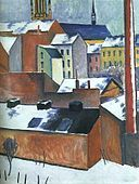 August Macke, The Church of St Mary in Bonn in Snow. Find this and other August macke Prints at Delightful Prints August Macke, Wassily Kandinsky, Wall Art Prints, Poster Prints, Canvas Prints, Posters, Cavalier Bleu, Blue Rider, Franz Marc