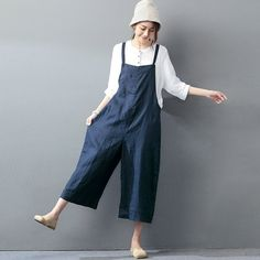 Casual loose jumpsuit linen overall for a refreshing look Korean Fashion Trends, Latest Fashion, Fashion 101, Fashion Photo, Fashion Ideas, Street Fashion, Leotard Tops, Dresses Short, Maxi Dresses
