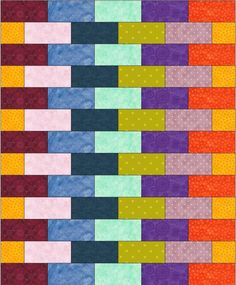 The Linus Connection: Free Pattern: Scrappy Bricks Quilt printable pdf. Different sizes & layouts